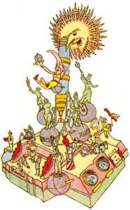 Boceto del monumento con el lema El Año Geofísico Internacional