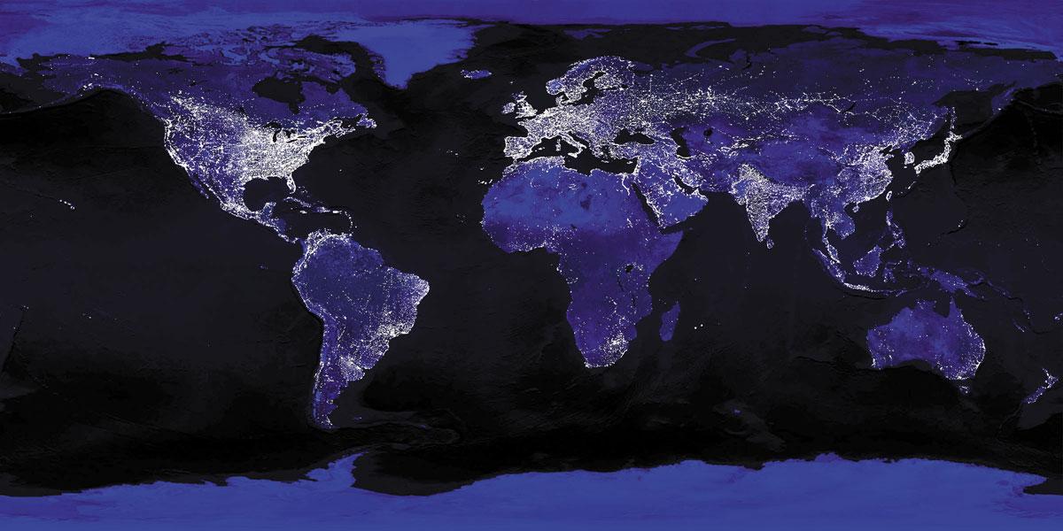 Mapa lumínico ciudades del mundo