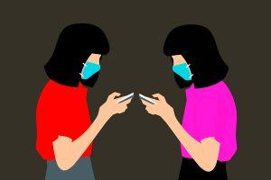 ilustración mujeres mascarillas pandemia coronavirus