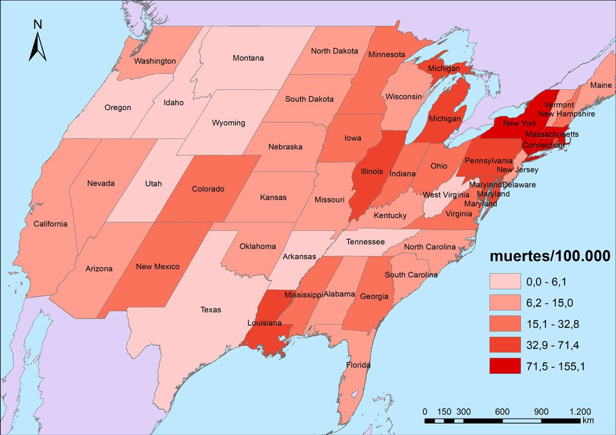 Figura 5. Mortalitat per COVID-19 als Estats Units per estats federats (4/6/2020).