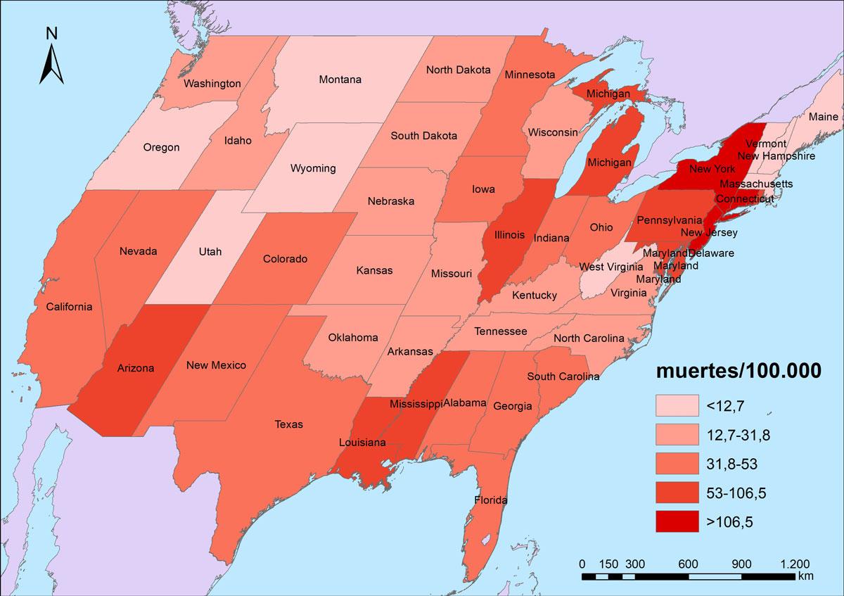 Figura 6. Mortalidad por COVID-19 en los Estados Unidos (1/9/2020).
