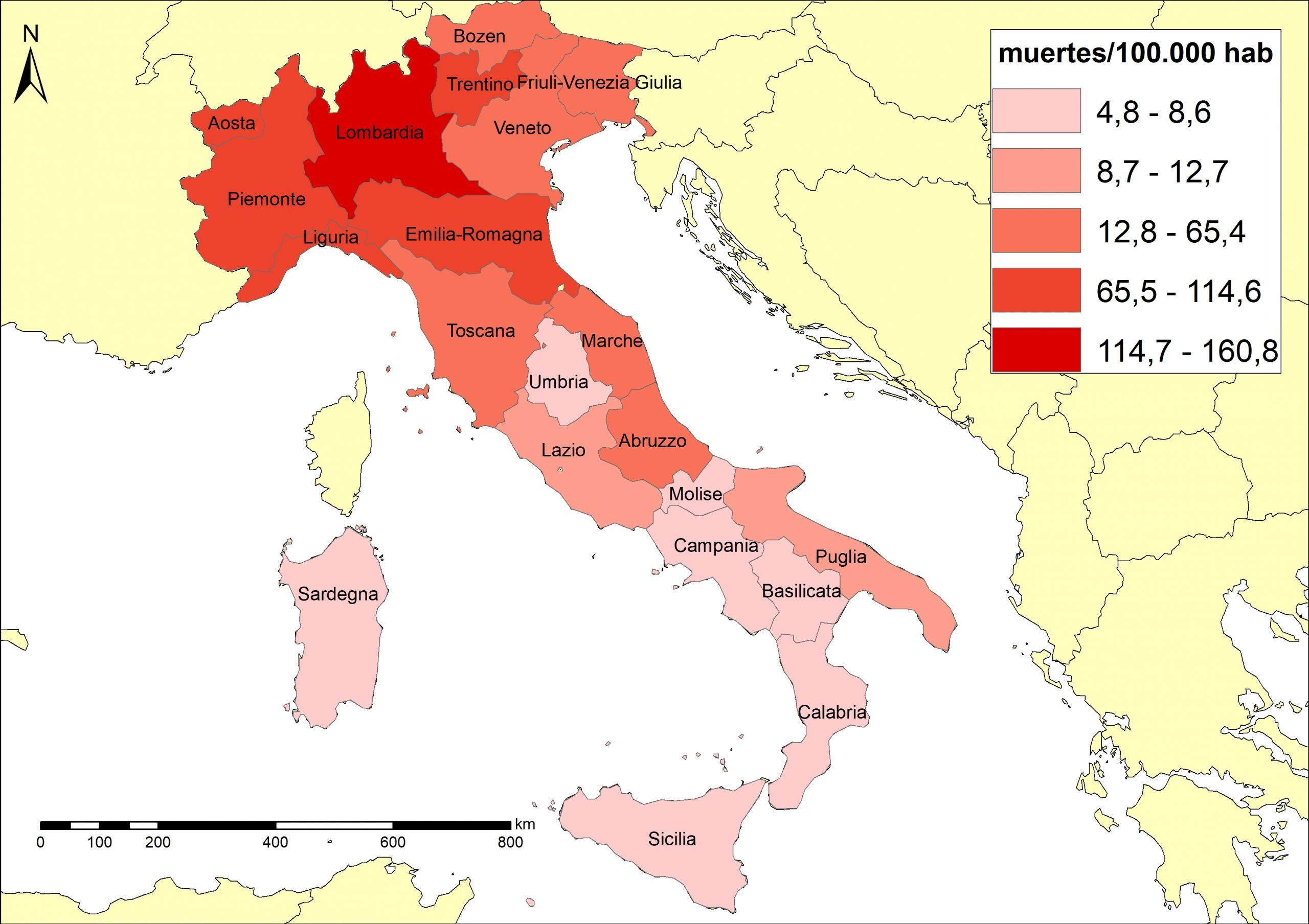 Figura 3. Mortalitat de la COVID-19 a Itàlia per regions (4/6/2020)